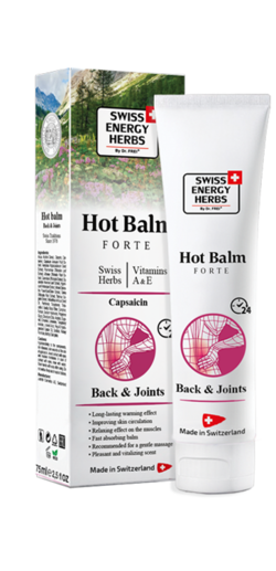 HOT BALM 8 Swiss Herbs + Vitamins A, E + Methyl salicylate + Capsaicin