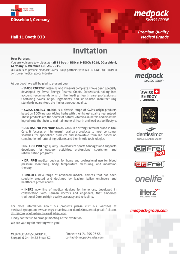 Invitation to Medica 2019, Dusseldorf, Germany