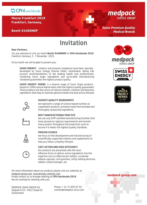 Invitation to CPhI WORLDWIDE 2019